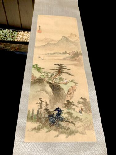 Rare Chinese Original Watercolor On Silk Mountain Landscape Wall Scroll Painting