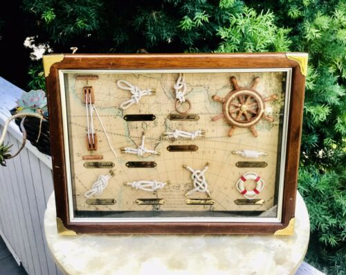 Vintage Nautical Boat Ship Decor Buoy + Knots In Wood Brass Shadow Box