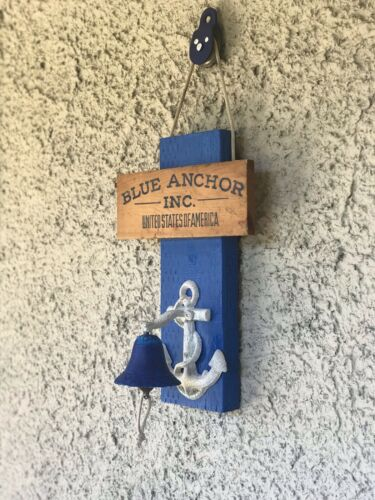 Vintage Blue Anchor Inc USA Wood & Metal Nautical Ship Anchor Bell Wall Decor