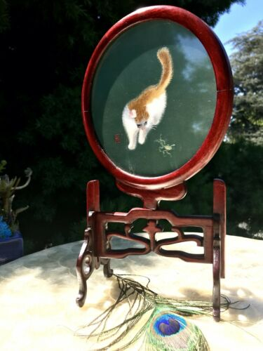 Rare Vintage Cat Embroidered Silk Art Under Glass Chinese Cherry Wood Stand