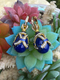 925 Sterling Silver Gold Blue Stone Enamel Egg Ornate Rhinestone Pierce Earrings
