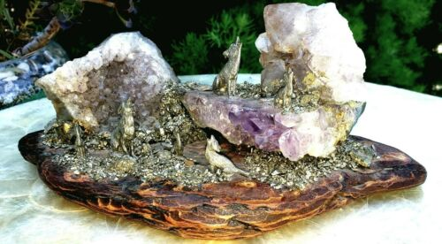 Exquisite Amethyst Pryrite Drift Wood + Pewter Figurine Wolf Sanctuary Art Work