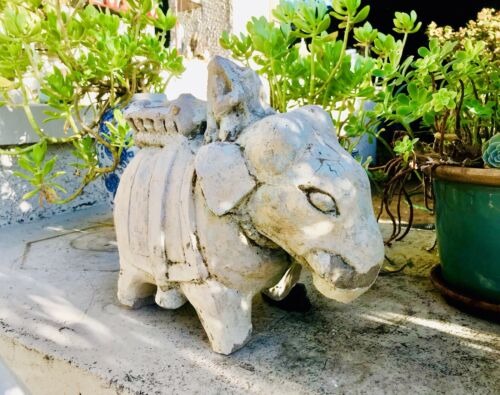 18th Century Antique Stone Carved Indian Temple Elephant Spiritual Artifact