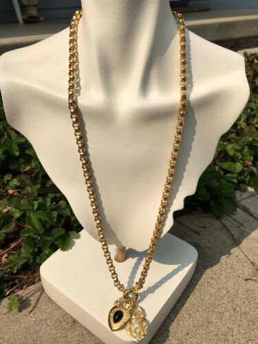 Vintage Designer Joan Rivers Signed Gold Tone Chunky Link Necklace Chain Heart