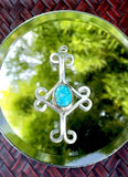 Vintage Native American Sterling Silver & Turquoise Unique Cross Pendant