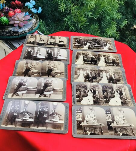 Antique Underwood Publishers & Works Studios Humorous Stereoview Cards Lot of 10