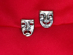 Sterling Silver 925 Comedy Tragedy Happy Sad Face Theatre Screw Back Earrings