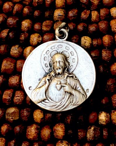Sterling Silver Catholic Sacred Heart Jesus Miraculous Mother Mary Pendant