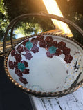 Rare Ceramic + Metal Signed Chinese Hand Painted Floral Bowl Basket