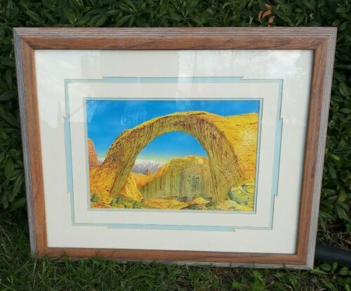 Mountain scene Landscape Arch matted framed Signed Original? art picture