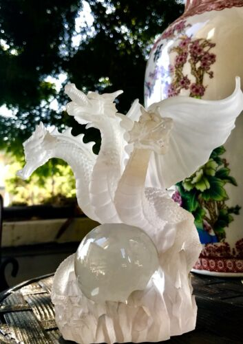 Collectible Signed Long Arch 2001 Crystal Ball 3 Headed Dragon Sculpture
