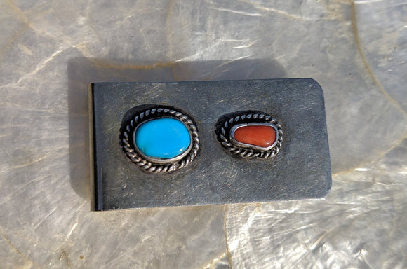 Vintage Native American Turquoise & Coral Stainless Steel Money Clip