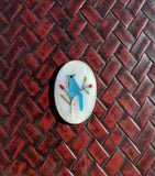 Vintage Native American Sterling Silver, Turquoise, Coral, Mother of Pearl Inlay Blue Jay Bird