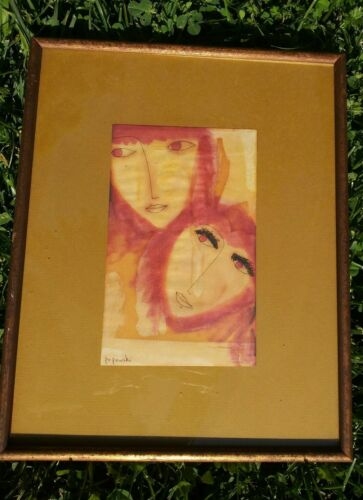 Original Popowski Signed Framed women mixed media Artwork Picture