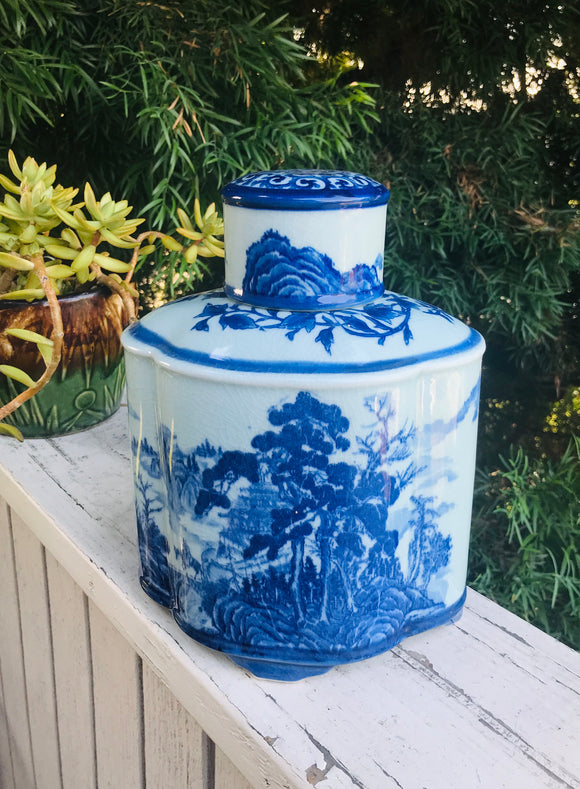 Antique Large Blue & White Chinese Artist Signed Jar Vase Container With Lid