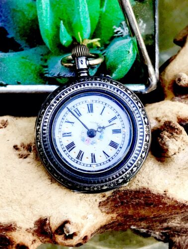 Antique Silver 800 Cylindite 10 Rubis Mechanical Pocket Watch