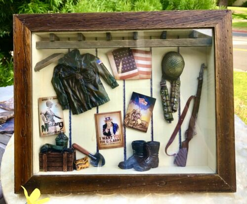 Seymour Mann Vintage U.S Army Military Gun American Shadow Wood Box Art Rare