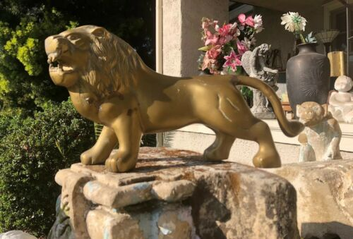 Large Solid Brass Lion Mid Century Vintage Metalware Collectible Figurine Decor