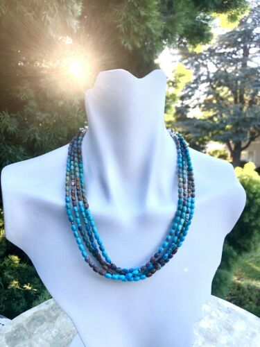 Jay King DTR Sterling Silver 925 Genuine Turquoise Multi Strand Beaded Necklace