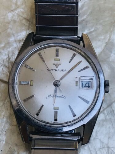 Vintage Mens Wittnauer Automatic T Swiss Made Day Date Silvertone Watch - Runs!