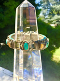 Vintage Native American Ethnic Tribal Turquoise Coral Yellow Stone Cuff Bracelet