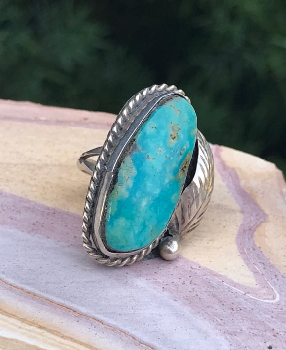 Vintage Sterling Silver 925 Blue Turquoise Leaf Native American Ring Size 6