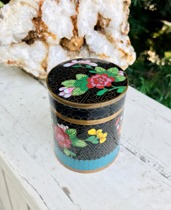 Antique Vintage Floral Cloisonne Enamel Blue Black Trinket Lid Jar Tea Caddy