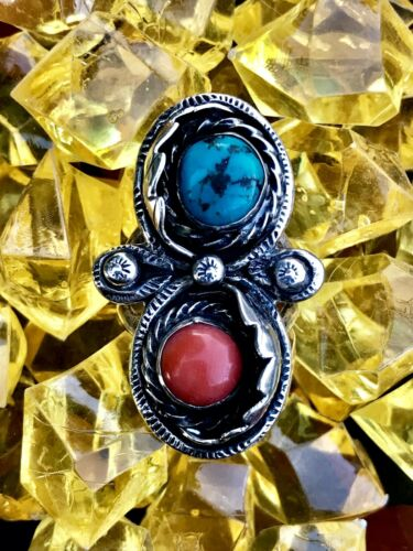 Vintage Native American Turquoise + Coral Sterling Silver Ring Size 8.5