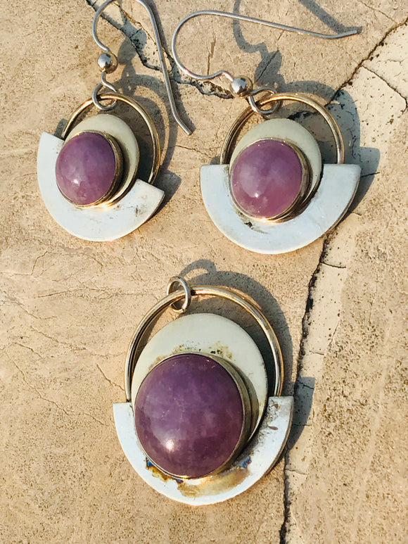 Sterling Silver Gold Filled GF Sugalite Amethyst Tone Stone Earrings Pendant Set
