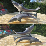 Bronze Patina 3 Dolphin Trio Standing on Tail Metal Art Sculpture Figurine 2lb