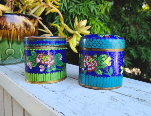 Antique Chinese Cloisonné Enamel Floral Cylindrical Trinket Box Ginger Jar Set