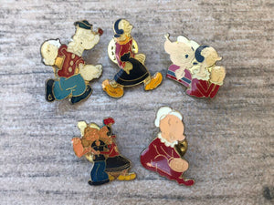 Vintage Popeye + Olive Oyl Woman Collectible Pin Set of 5 Rare Pins