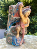 Asian Wood Carved Guardian Winged Angel Ancestor Painted Statue Hanging Wall Art
