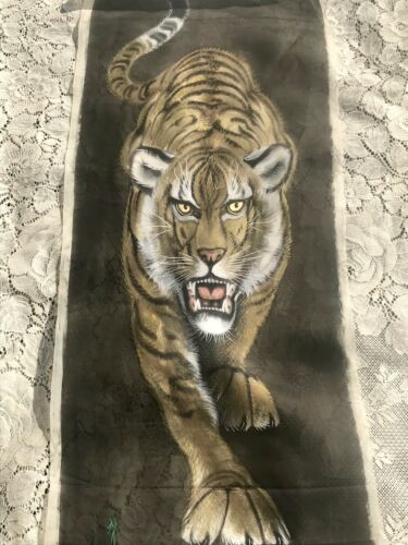 Antique Vintage Asian Tiger Original Painting on Silk Signed Hand Painted Art