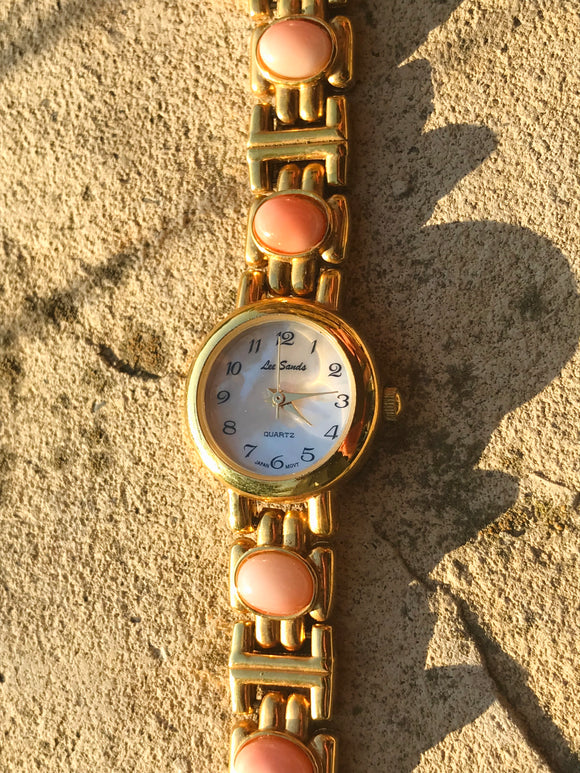 Vintage Designer Lee Sands Gold Tone Mother of Pearl Pink Stone Quartz Watch