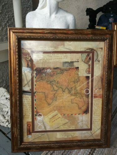 Vintage World Map Gold Tone Matted Framed Mixed Media Art