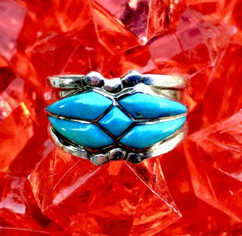 Vintage Sterling Silver Art Nouveau Blue Turquoise Stone Custom Ring