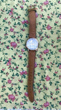 Vintage 1997 Lorus Mickey Mouse Goldtone 60 Years Quartz Watch w Tan Brown Band