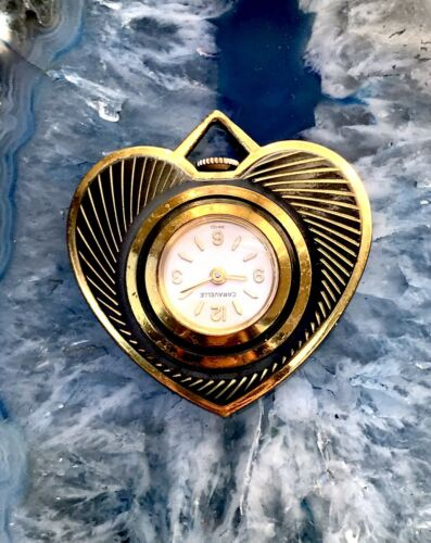 Vintage Swiss Made Heart Caravelle Mechanical Wind Up Necklace Pendant Watch