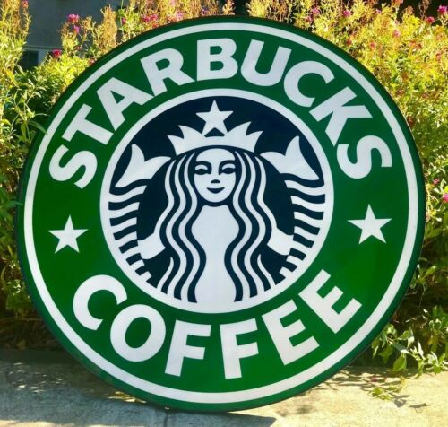 Authentic 90s STARBUCKS Coffee Store Front 3 FT Siren Logo Sign Collectible Rare