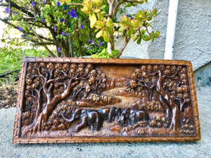 Carved Elephants Handmade Elephant Sculpture Solid Wood Carving Art Panel Rare