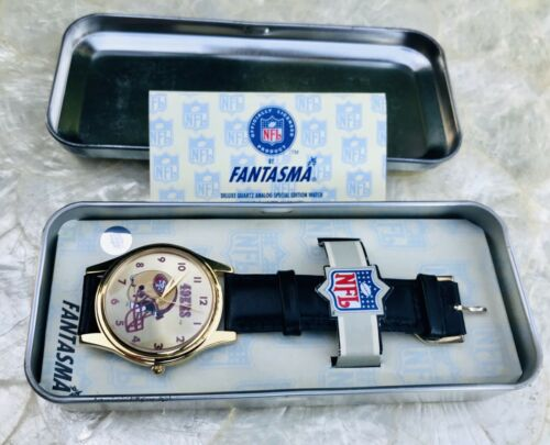 Vintage Fantasma NFL 1996 Deluxe Quartz 49ers Gold Tone Watch w Original Tin Box