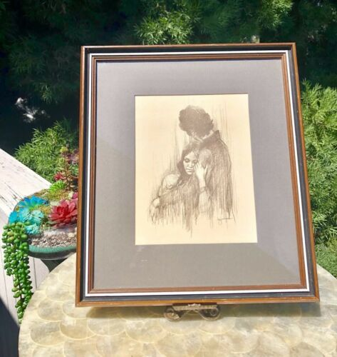 Rare Vintage Original Sketch Art Drawing signed Leo Jansen Matted & Framed