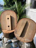 Vintage Wood Wooden Hat 2-Part Block Form Mold with Base Trunk XXII 22 Rare