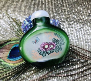 Rare High Quality Green Glass Art Reverse Painted Chinese Antique Snuff Bottle