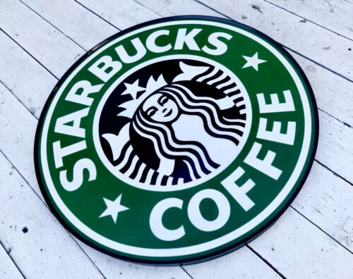Authentic 90s STARBUCKS Coffee Store Front 1.5 FT Siren Logo Sign Collectible