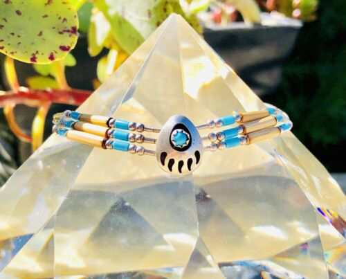Dainty Native American Sterling Silver Turquoise Bear Claw Bracelet