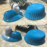 Vintage Blue & White Milk Slag Glass Sheep Dog Nest Basket Dish