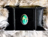 Vintage Native American Green Turquoise Sterling Silver Ring Size 5.5