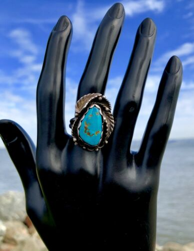 Authentic Signed Les Baker Handmade Navajo Sterling Silver Turquoise Ring